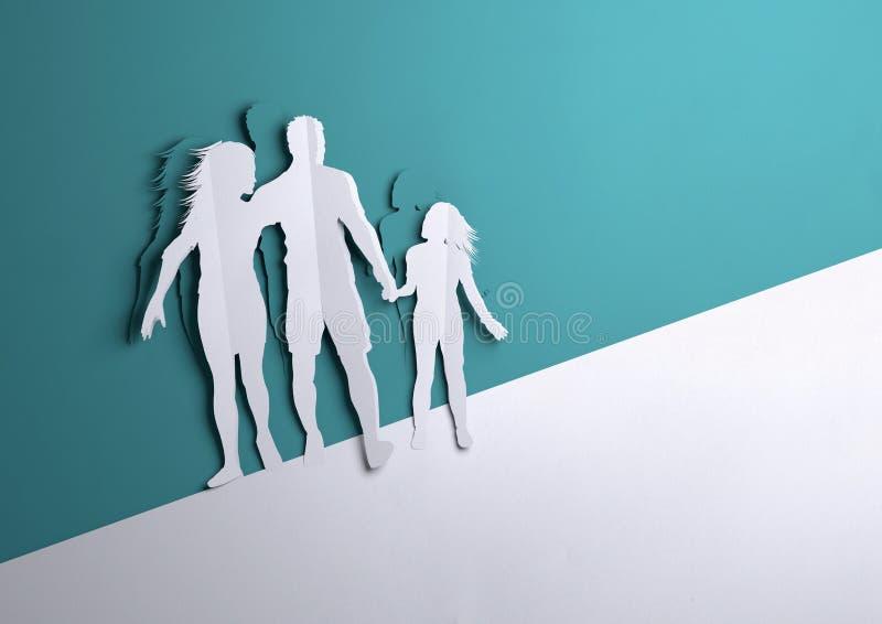 Arte de papel - familia feliz stock de ilustración