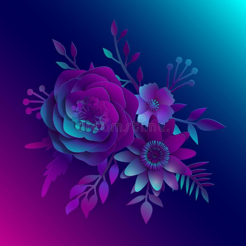 Arte de papel, flores realistas del vector 3D en un azul de neón y luz rosada con el corte de las hojas del papel Ilustración com stock de ilustración