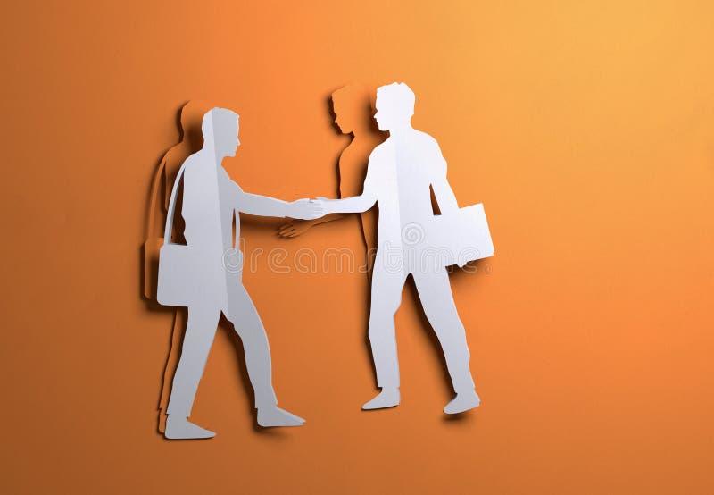 Arte de papel - homens de negócios que agitam as mãos em um negócio ilustração do vetor