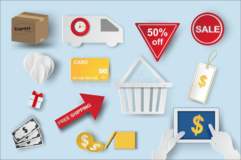 Arte de papel de iconos de los símbolos del comercio electrónico, ele de las compras de Internet libre illustration