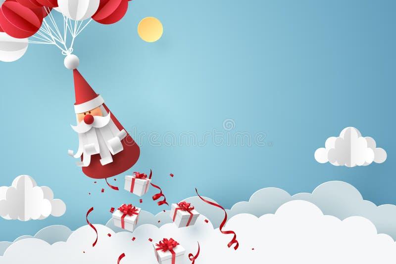 Arte de papel de la caja de regalo que cae de Santa Claus, de Feliz Navidad y de concepto de la celebración de la Feliz Año Nuevo imagenes de archivo