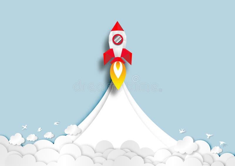 Arte de papel de las naves espaciales que vuelan a trav?s de vector del fondo de las nubes stock de ilustración