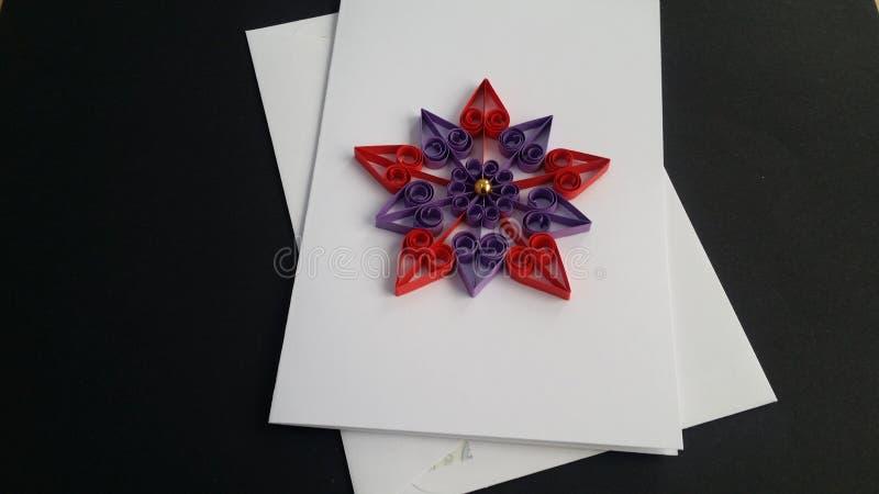 Arte de papel de las tarjetas de felicitación de Quilling fotos de archivo libres de regalías