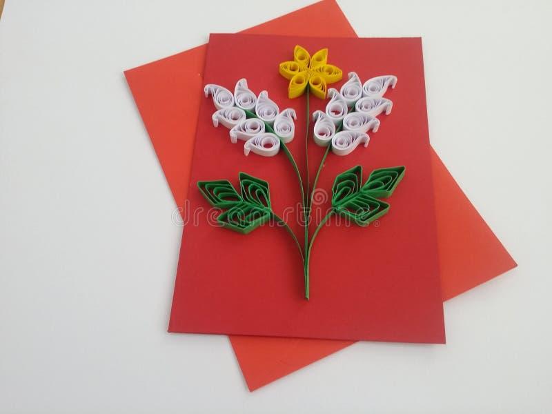 Arte de papel de las tarjetas de felicitación de Quilling fotografía de archivo libre de regalías