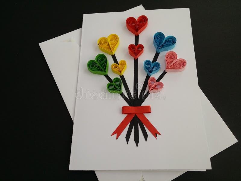 Arte de papel de las tarjetas de felicitación de Quilling foto de archivo libre de regalías