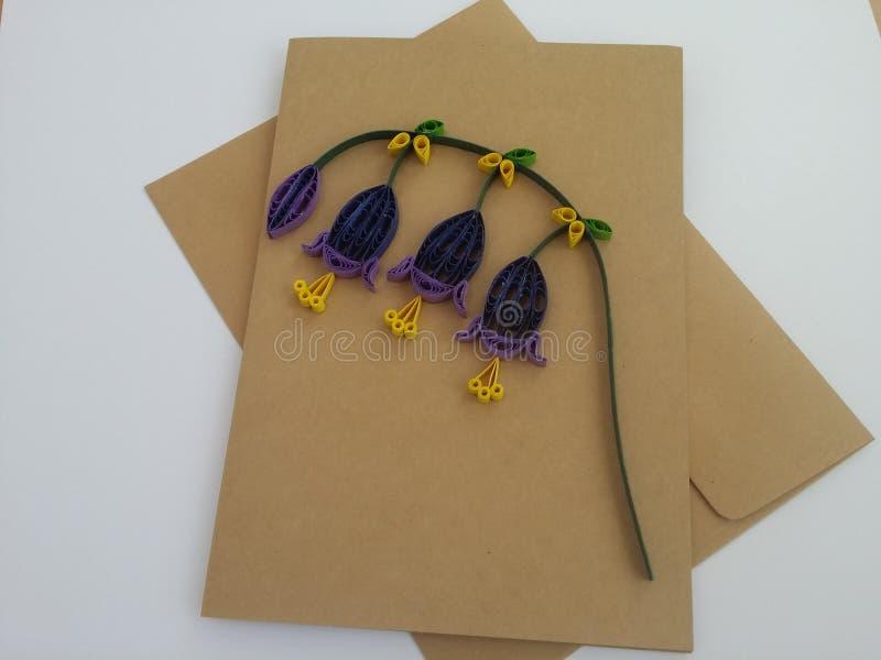 Arte de papel de las tarjetas de felicitación de Quilling foto de archivo
