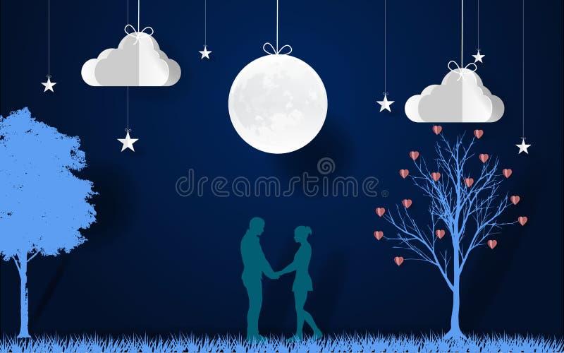 Arte de papel os amantes juntam-se às mãos com a lua na noite scence romântico com árvore de amor, estrelas, nuvens e lua Dia do  ilustração do vetor