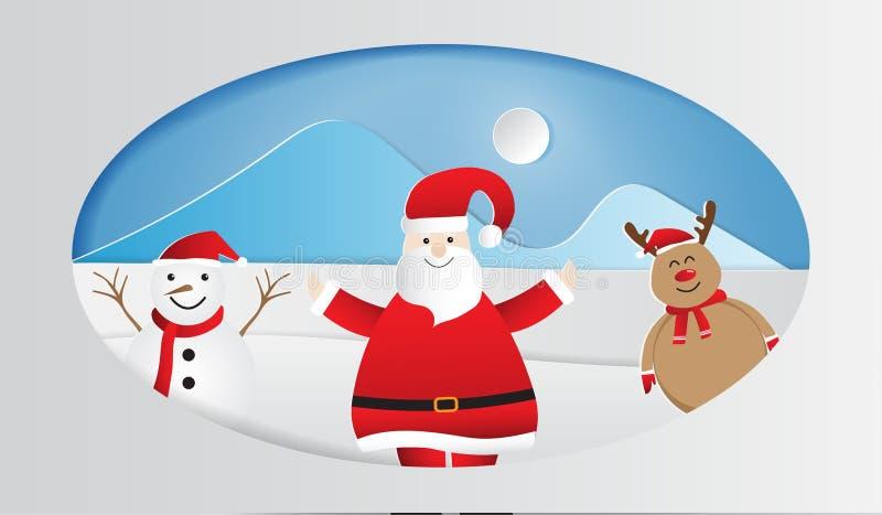 Arte de papel de Papá Noel feliz con el muñeco de nieve y el reno en el fondo del bosque de la nieve del invierno, Feliz Navidad  ilustración del vector