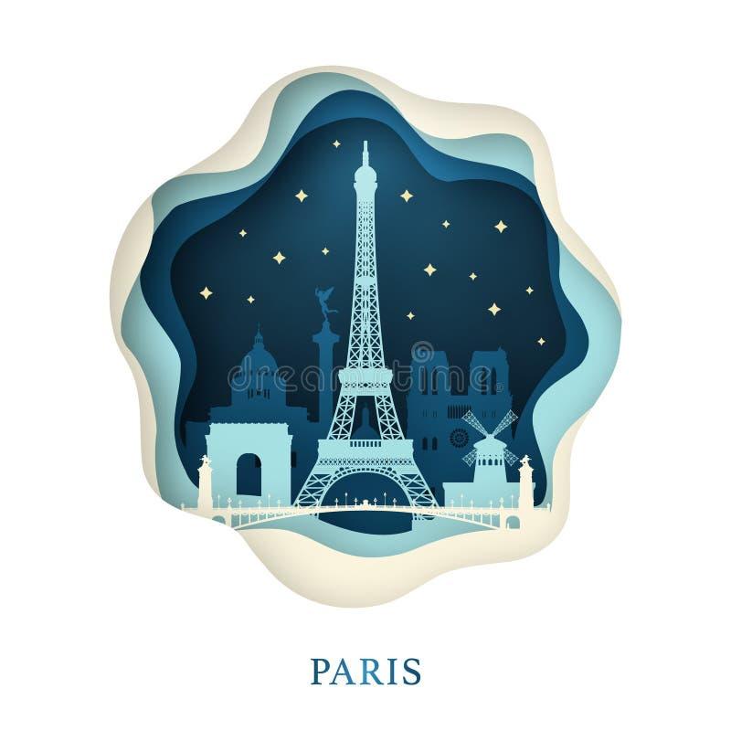 Arte de papel de París ilustración del vector