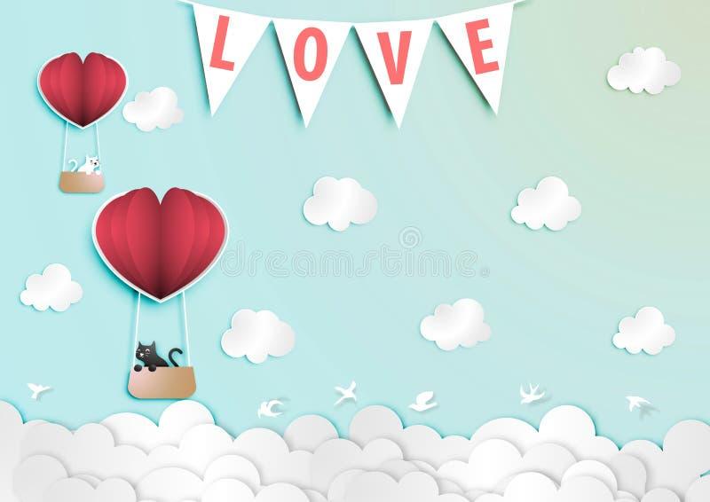 Arte de papel de Valentine Day Festival com o gato preto e branco do amante no vetor de papel do balão ilustração do vetor