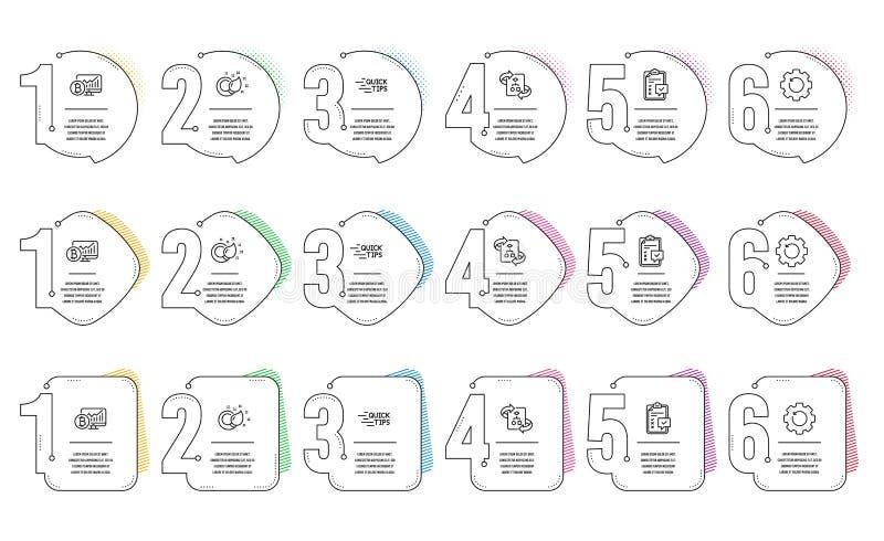 Arte de recuperação, gráfico de Bitmoeda e conjunto de ícones de Educação Pincel de tinta, checklist e sinais técnicos do algorit ilustração royalty free