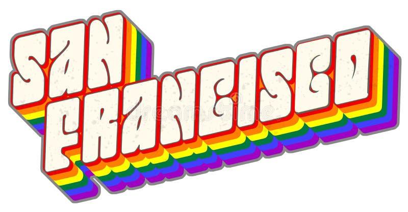 Arte de San Francisco Gay Pride Lettering Logo stock de ilustración