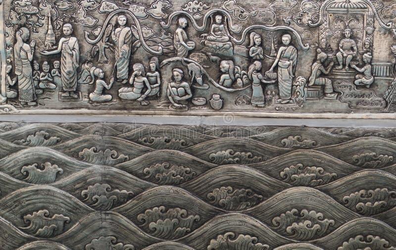 Arte de talla de plata del estilo tailandés en la pared del templo, Wat Srisuphan, Ch fotos de archivo libres de regalías