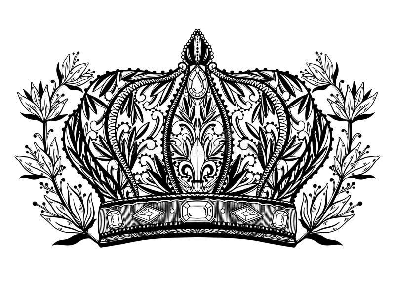 Arte de tiragem elegante do rei e da rainha da coroa Cor preta no fundo branco ilustração royalty free
