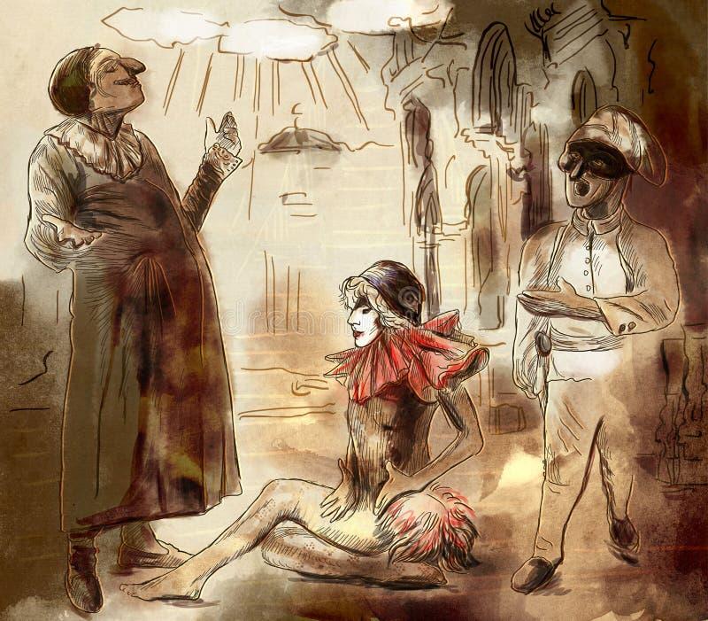Arte de ` de vallon de Commedia - une illustration peinte à la main illustration de vecteur