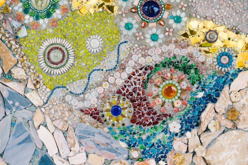 Arte de vidro colorida do mosaico e parede abstrata imagem de stock royalty free