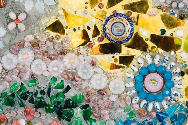 Arte de vidro colorida do mosaico e parede abstrata foto de stock royalty free