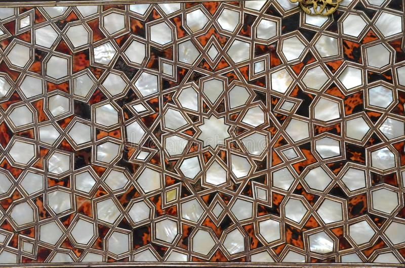 Arte de vidro de incandescência Fundo abstrato da textura Teste padrão turco da tradição fotos de stock royalty free