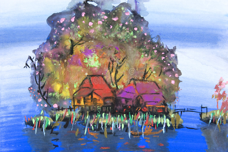 Arte dei bambini - casa del fiume royalty illustrazione gratis