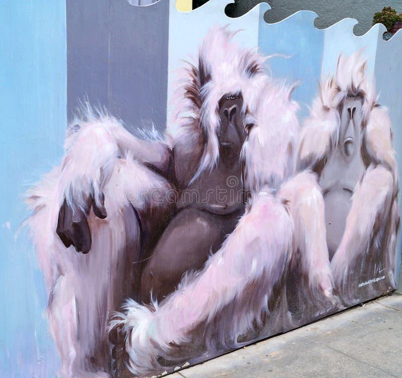 Arte dei graffiti della scimmia fotografia stock libera da diritti