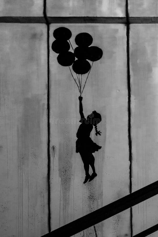 Arte dei graffiti di Bansky Il mondo di Bansky immagine stock libera da diritti