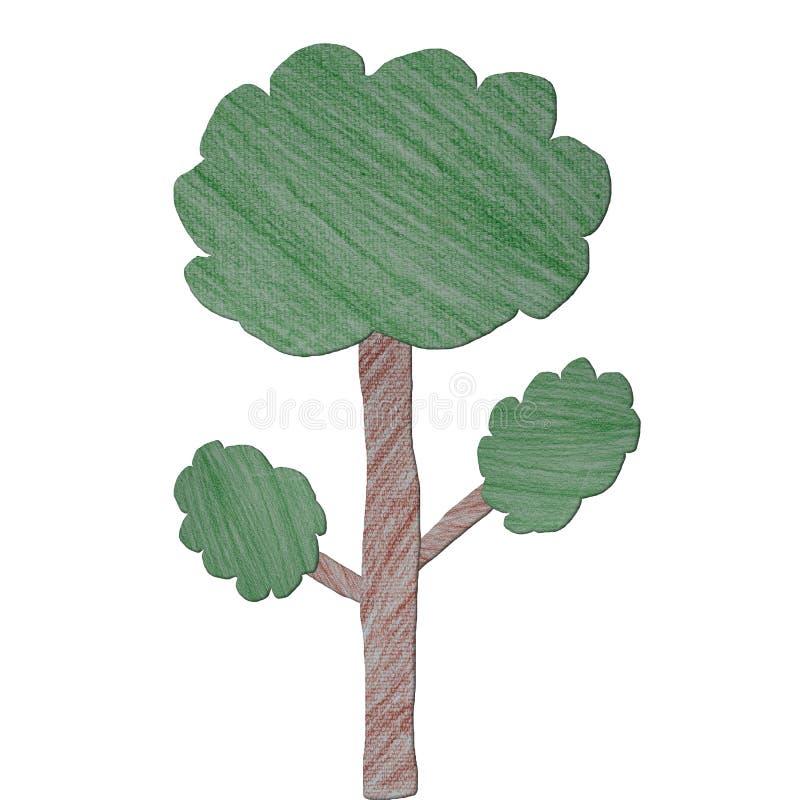 Arte del árbol hecho de color del lápiz ilustración del vector