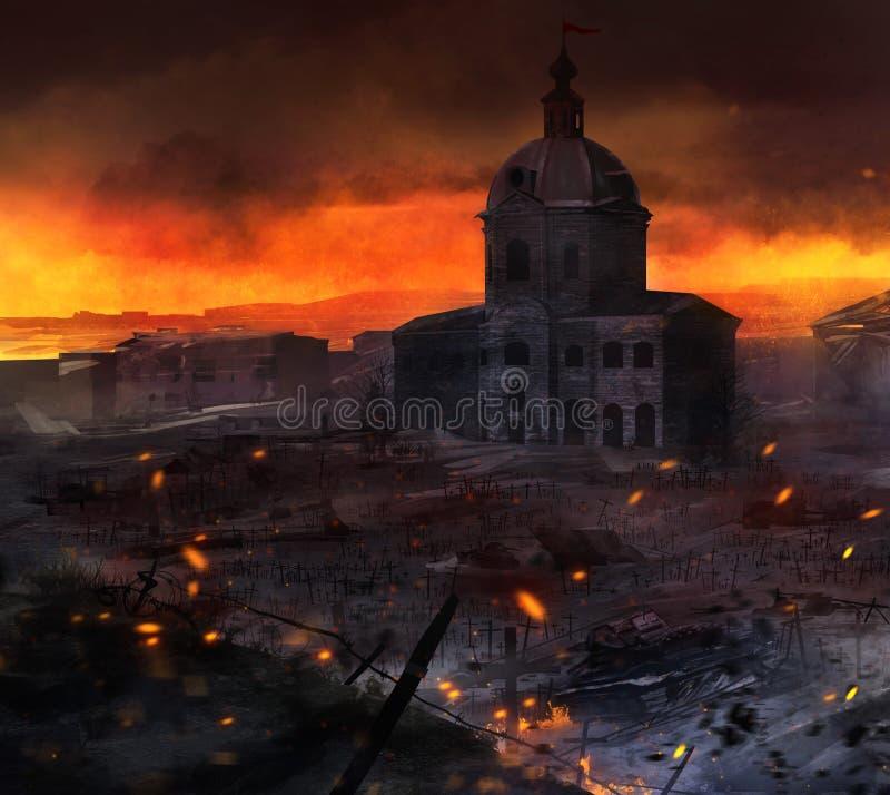 Arte del campo di guerra royalty illustrazione gratis