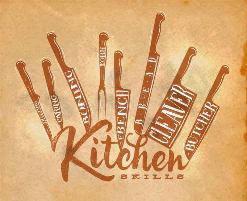 Arte del cartel de los cuchillos de corte de la carne stock de ilustración