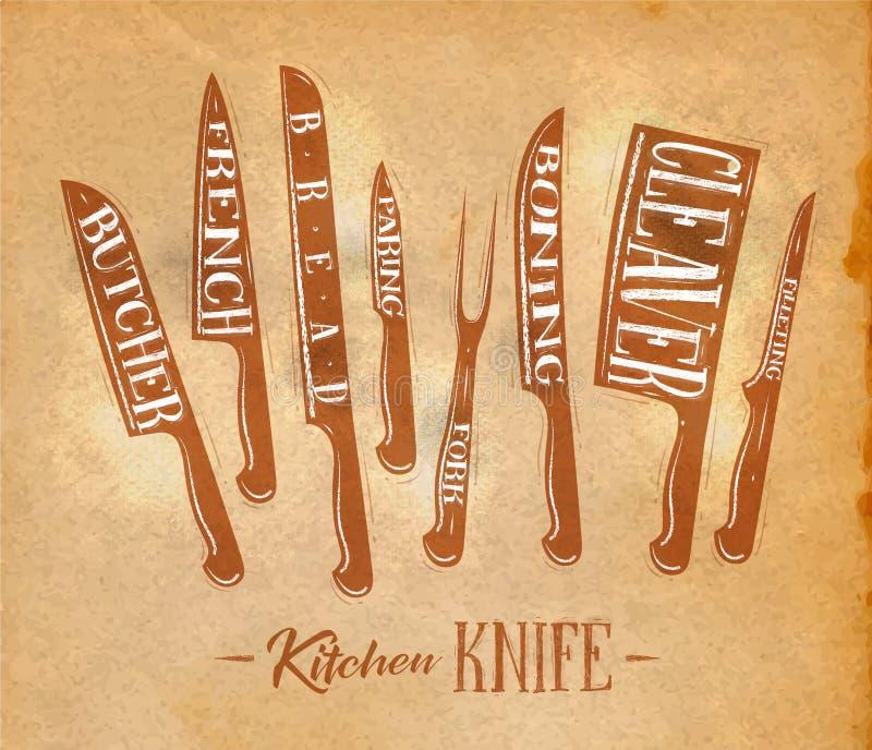 Arte del cartel de los cuchillos de corte de la carne de la cocina stock de ilustración