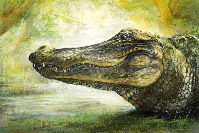 Arte del cocodrilo en pastel ilustración del vector