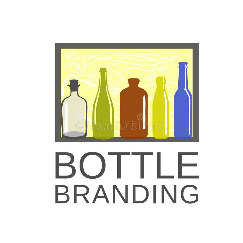 Arte del color de la botella y logotipo del café de la bebida ilustración del vector