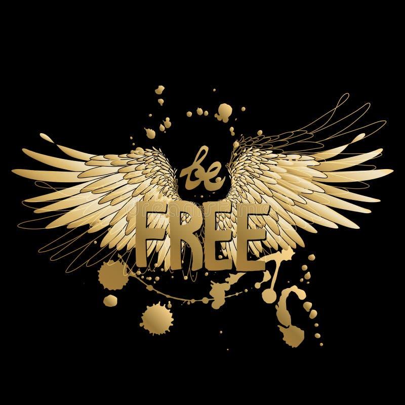 Arte del concepto con lema y las alas libre illustration