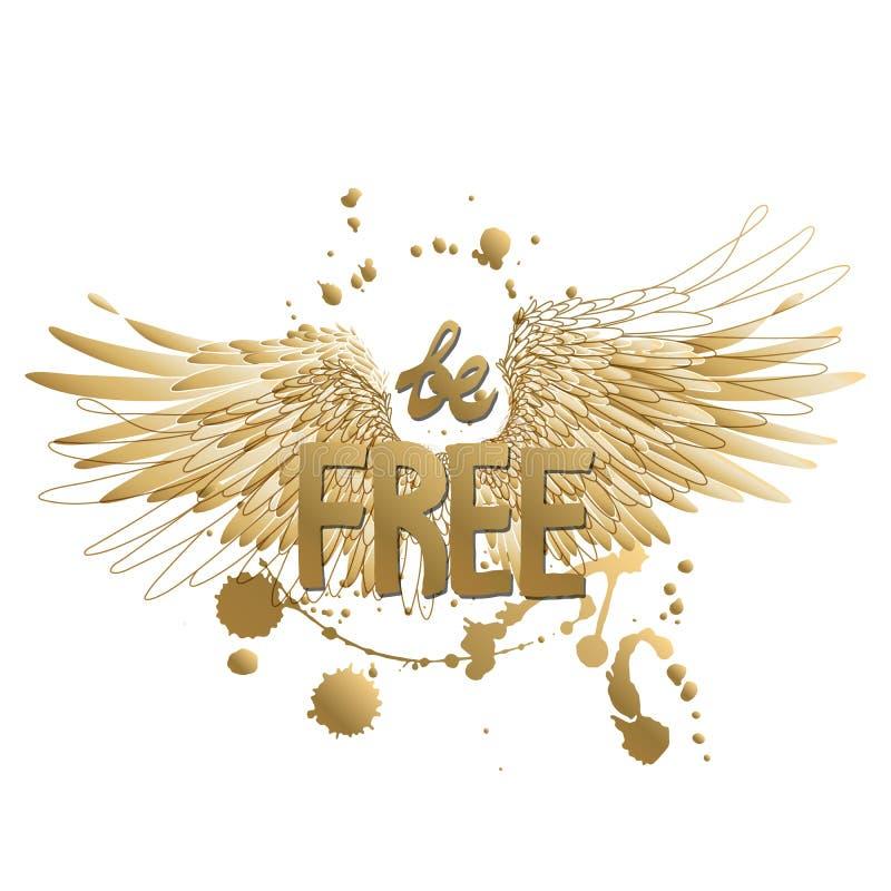 Arte del concepto con lema y las alas stock de ilustración