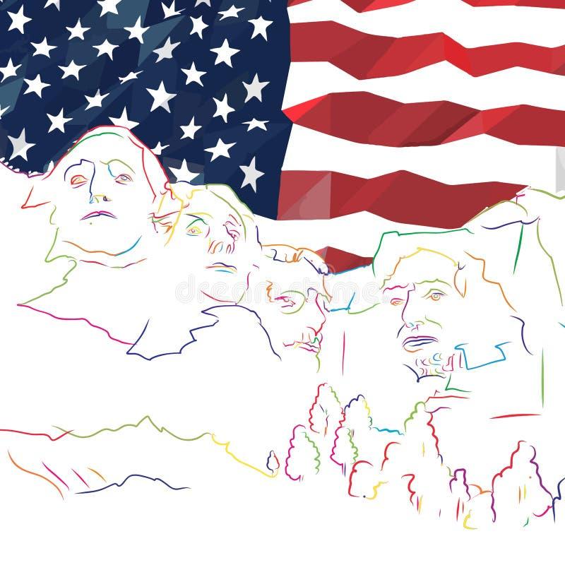 Arte del concepto de la bandera del monte Rushmore ilustración del vector