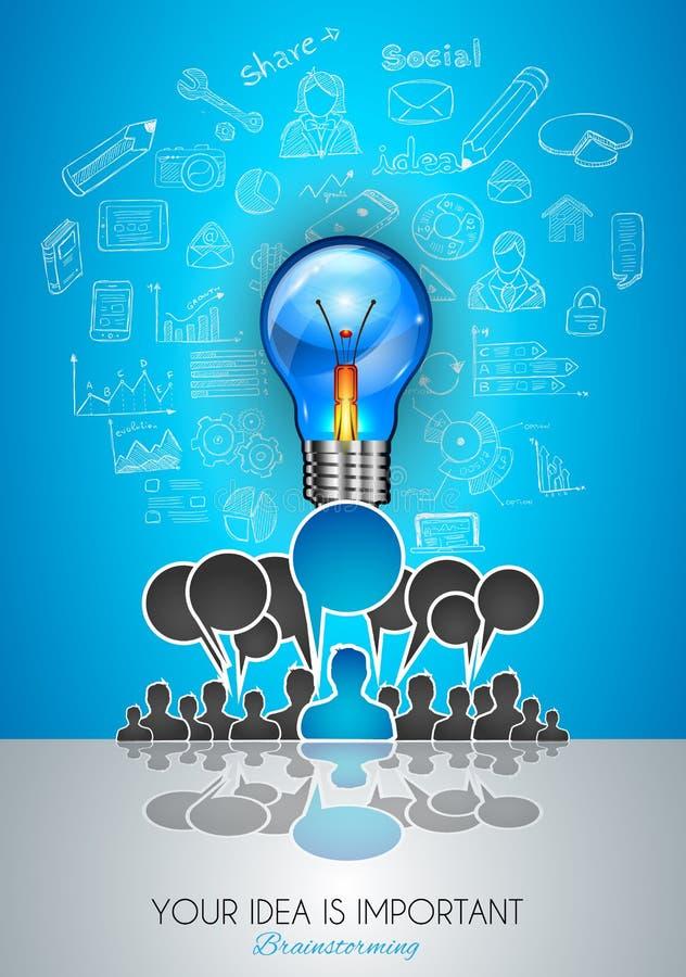 Arte del concepto de la comunicación de la reunión de reflexión del trabajo en equipo stock de ilustración