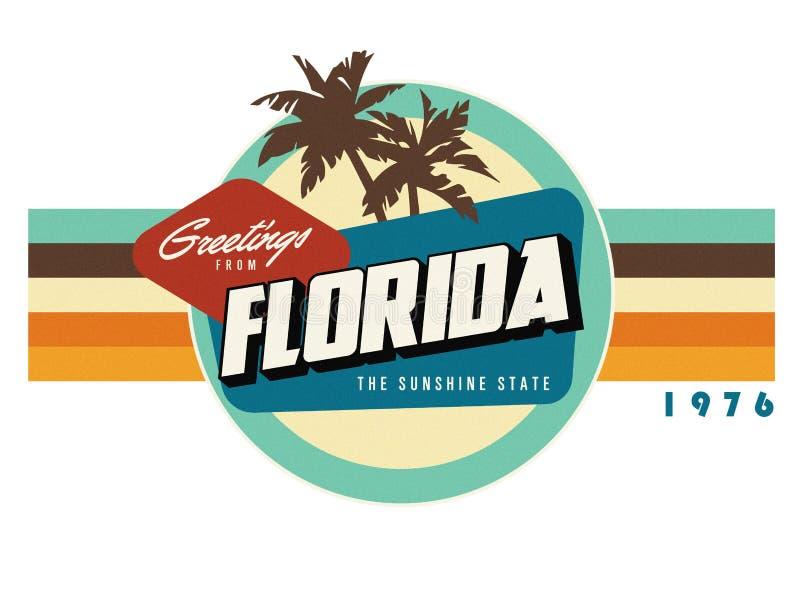 Arte del diseño de la camiseta del estilo de la postal del vintage de la Florida ilustración del vector