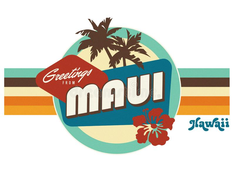 Arte del diseño de la camiseta del estilo de la postal del vintage de Maui Hawaii stock de ilustración