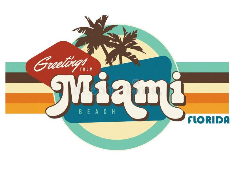 Arte del diseño de la camiseta del estilo de la postal del vintage de Miami la Florida stock de ilustración