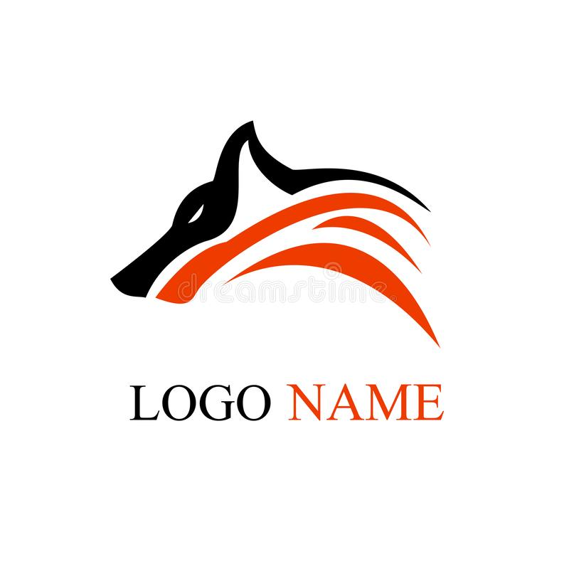 Arte del diseño del logotipo del lobo ilustración del vector