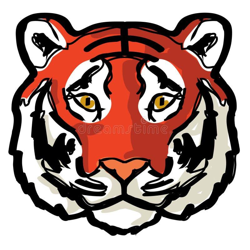 Arte del disegno di contorno della tigre del fronte fotografia stock libera da diritti