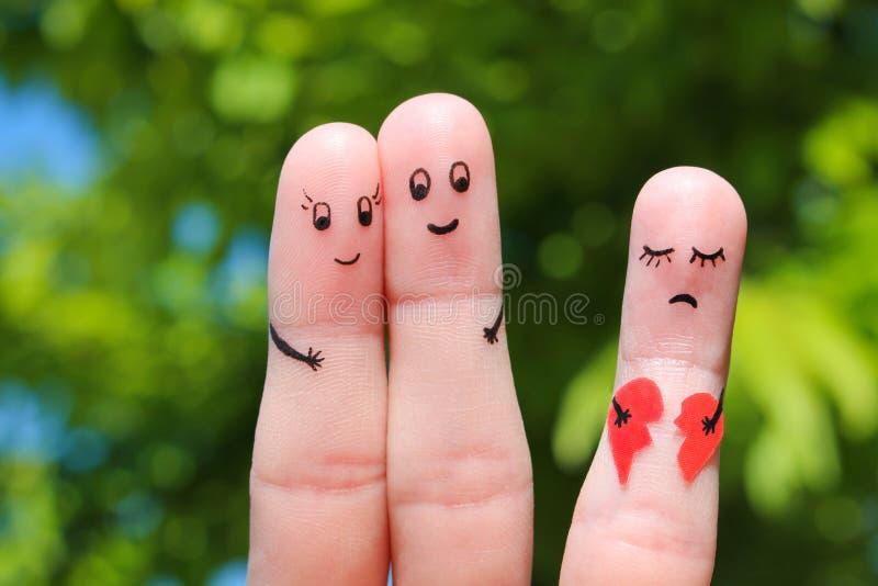 Arte del dito di abbracciare felice delle coppie immagine stock libera da diritti