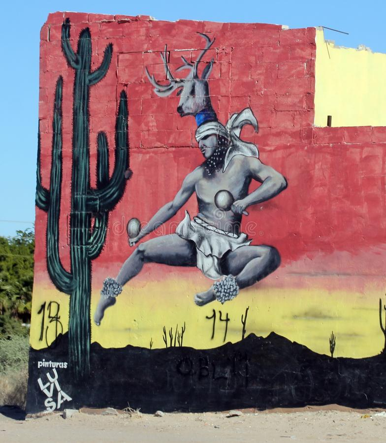 Arte del edificio en la impulsión del rodeo en Puerto Penasco, México foto de archivo