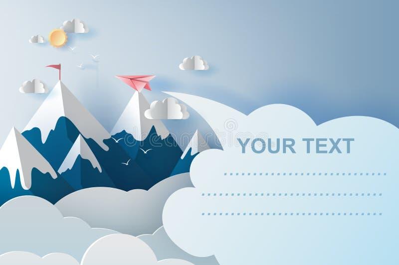 arte del ejemplo 3d de los aeroplanos que vuelan sobre las montañas en el cielo azul Corte del papel del dise?o y estilo creativo libre illustration
