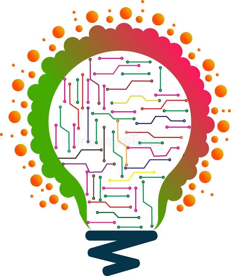 Arte del ejemplo de millón de logotipos ligeros del circuito de la lámpara con el fondo libre illustration