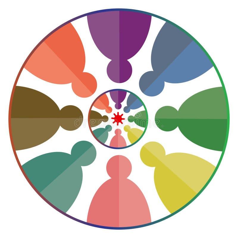 Arte del ejemplo del logotipo de la compañía del trabajo del equipo con el fondo aislado stock de ilustración