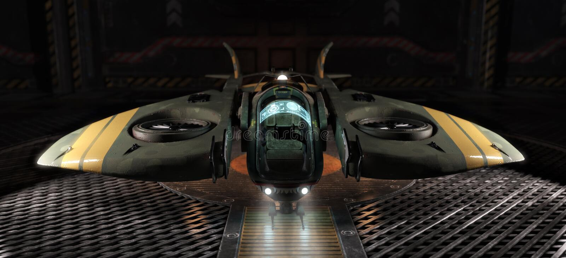 Arte del espacio de la luz de la sola persona atracado en un hangar ilustración del vector