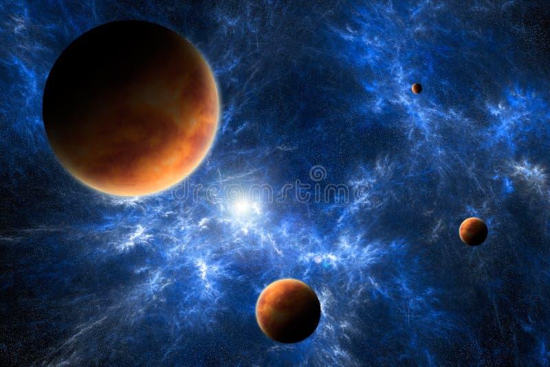 Arte del espacio - planetas y nebulosa stock de ilustración