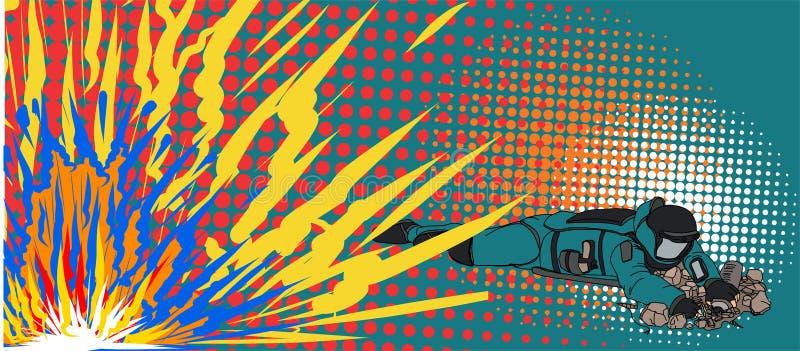 Arte del estilo del arte pop y vector cómicos del tono medio Vector cómico experto de la disposición de bomba hombre del arte pop ilustración del vector