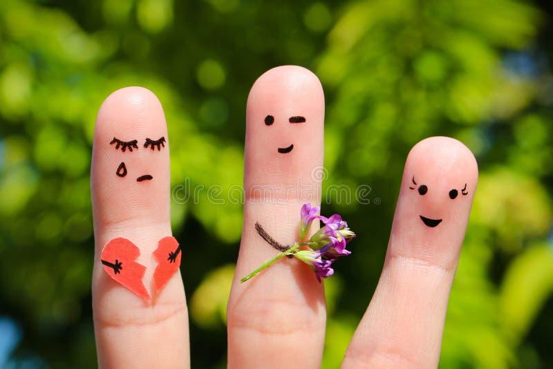 Arte del finger de la familia El hombre da el ramo de flores a otra mujer fotografía de archivo