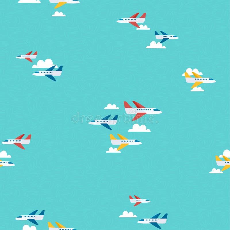 Arte del fondo del modello di viaggio del cielo dell'aereo di aria royalty illustrazione gratis